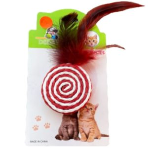 Durable colourful cat toy with feathers