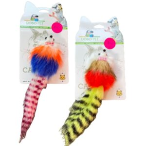 Colourful mouse with long tail for cats or kittens